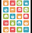 icons set 20 smiles winter square vector image
