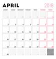 calendar planner for april 2018 week starts on vector image