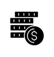 cash - coins icon black sign vector image