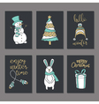 Christmas greeting or invitation cards set vector image