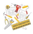 Construction worker pictograms composition banner vector image