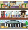 set of airport and passengers concept vector image
