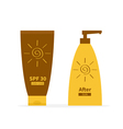 Tube of suntan cream After sun lotion Bottle set vector image