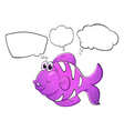 A purple fish with empty callouts vector image vector image