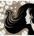 closeup vintage woman with beautiful long hai vector image vector image