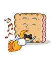 biscuit cartoon character style with trumpet vector image