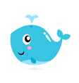 Blue cartoon whale isolated on white vector image