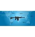 cyber warfare concept gun digital code world wide vector image
