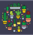 linear design cacti and flowers in pots vector image