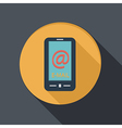 paper flat icon smartphone with the symbol mail vector image