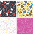 Set of seamless patterns with hats vector image