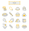 Thin line icons set food yellow vector image