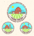 fresh farm badge label or sign in vintage style vector image