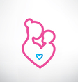 mother and baby symbol in a heart shape vector image vector image