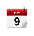 May 9 flat daily calendar icon Date and vector image