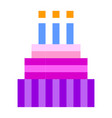 birthday cake pixel art cartoon retro game style vector image