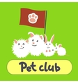 Greeting card with pets on a green background vector image