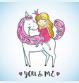 little girl on a cute unicorn vector image