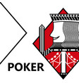 poker card gambling king with sword in sign vector image