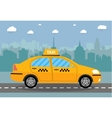 taxi car on city background vector image vector image