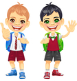 Happy smiling schoolchildren boys vector image