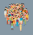 flat of male community with a crowd of guys and vector image
