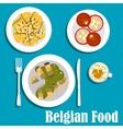 Belgian cuisine with eel fish and hot salad vector image