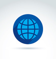 Blue simple planet icon placed in a circle earth vector image