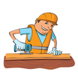 builder with electric saw vector image
