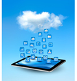 Cloud computing concept background with icons vector image