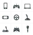 Game icons set of gadget signs vector image