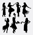 Hawaiian hula girl femae silhouette vector image