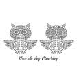 Set of owl sugar Mexican skulls vector image