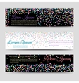 Horizontal banners with falling colorful confetti vector image
