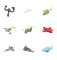 Flying machine icons set cartoon style vector image