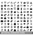 100 digital marketing icons set simple style vector image
