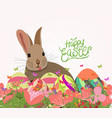 happy easter eggs invitation with rabbit abstract vector image