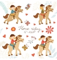 Adorable collection of cute little girls riding vector image vector image