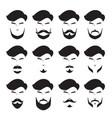 men beard set different style monochrome vector image