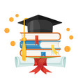 mortarboard cap on piles of textbooks and diploma vector image