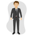 young unhappy businessman shows his empty pockets vector image