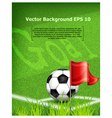green playing field ball red flag goal vector image vector image