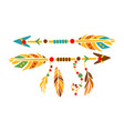 two decorative arrows with feathers native indian vector image vector image