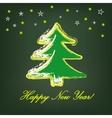 Christmas tree on dark green background vector image vector image