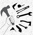 Hand holding hammer with pattern of tool vector image vector image