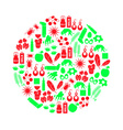 allergy and allergens red and green icons set vector image