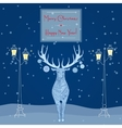 Christmas deer near street light Merry Christmas vector image