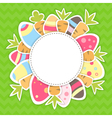 Easter carrots and eggs pattern on a green vector image