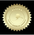 Gold star label Alaska vector image