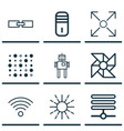 set of 9 artificial intelligence icons includes vector image
